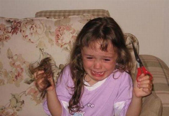 Отрезала волосы