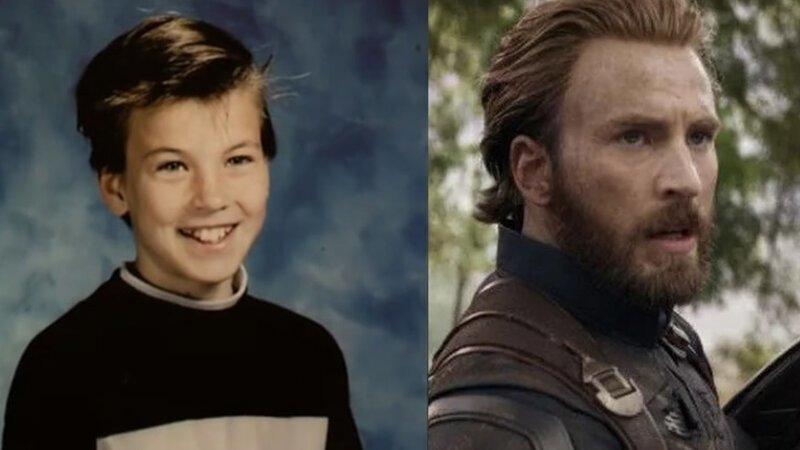 Стив Роджерс / Капитан Америка – Крис Эванс Avengers Endgame, актеры в детстве и сейчас, детство звезд, марвел, мстители, супергерои