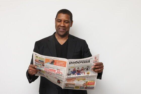 Дензел Вашингтон «Копейский рабочий», газета, голливуд, знаменитости, урал, флэшмоб, фото