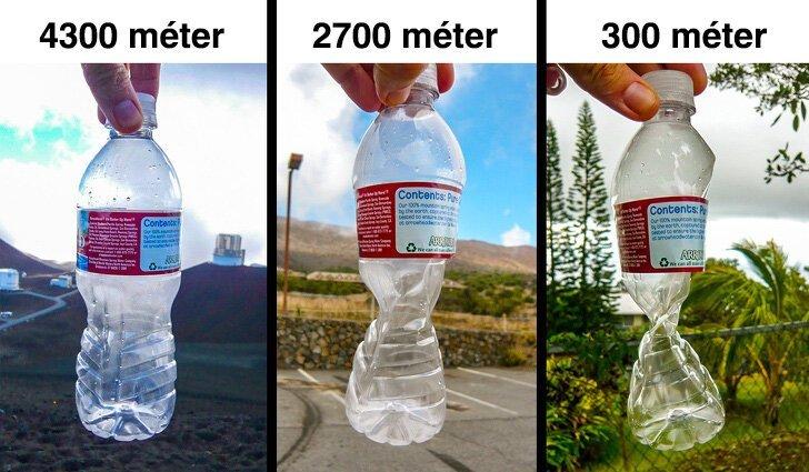 Деформация бутылки на разных высотах интересно, красиво, фото