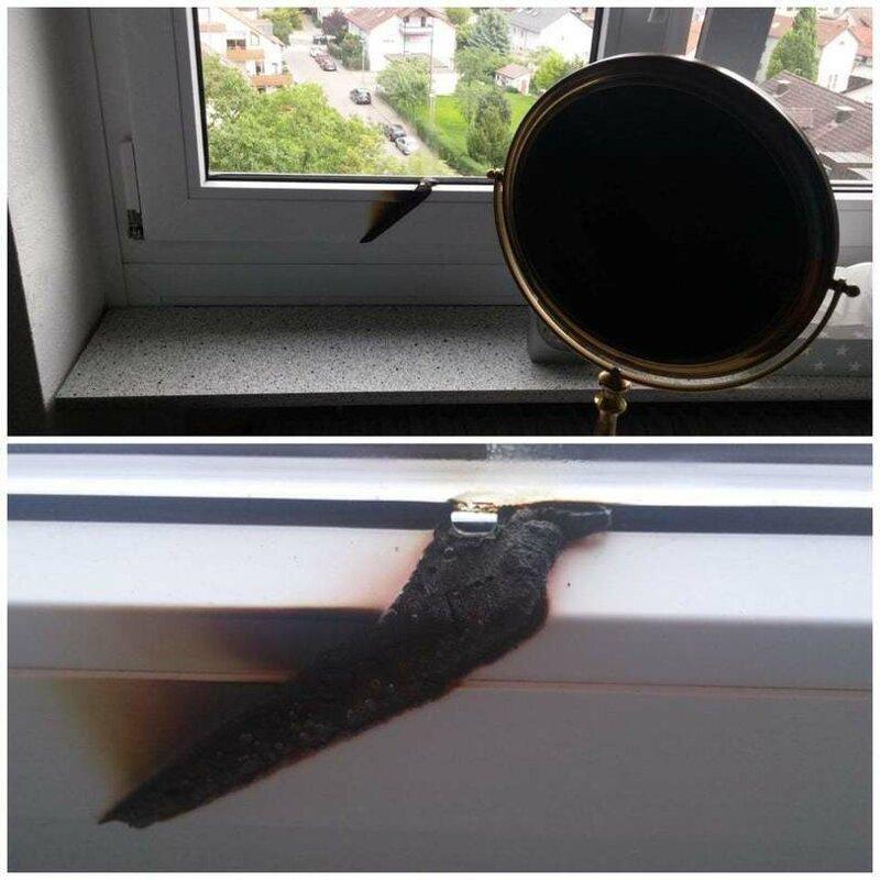 2. зеркало, зеркало у окна, неудача, поджег, пожар, прожгло, фото
