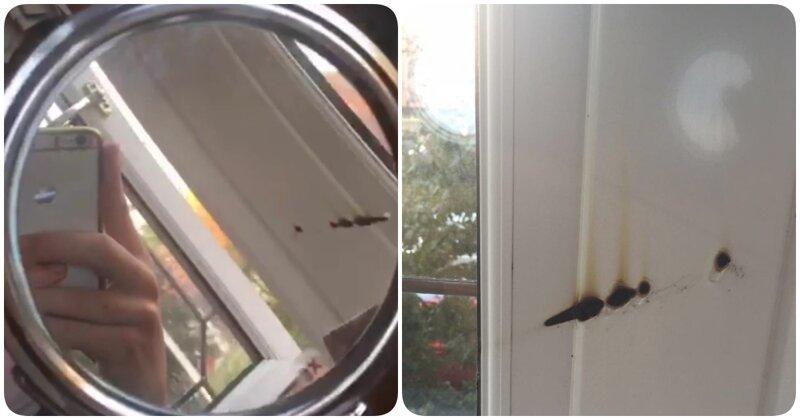 1. След остался на окне зеркало, зеркало у окна, неудача, поджег, пожар, прожгло, фото