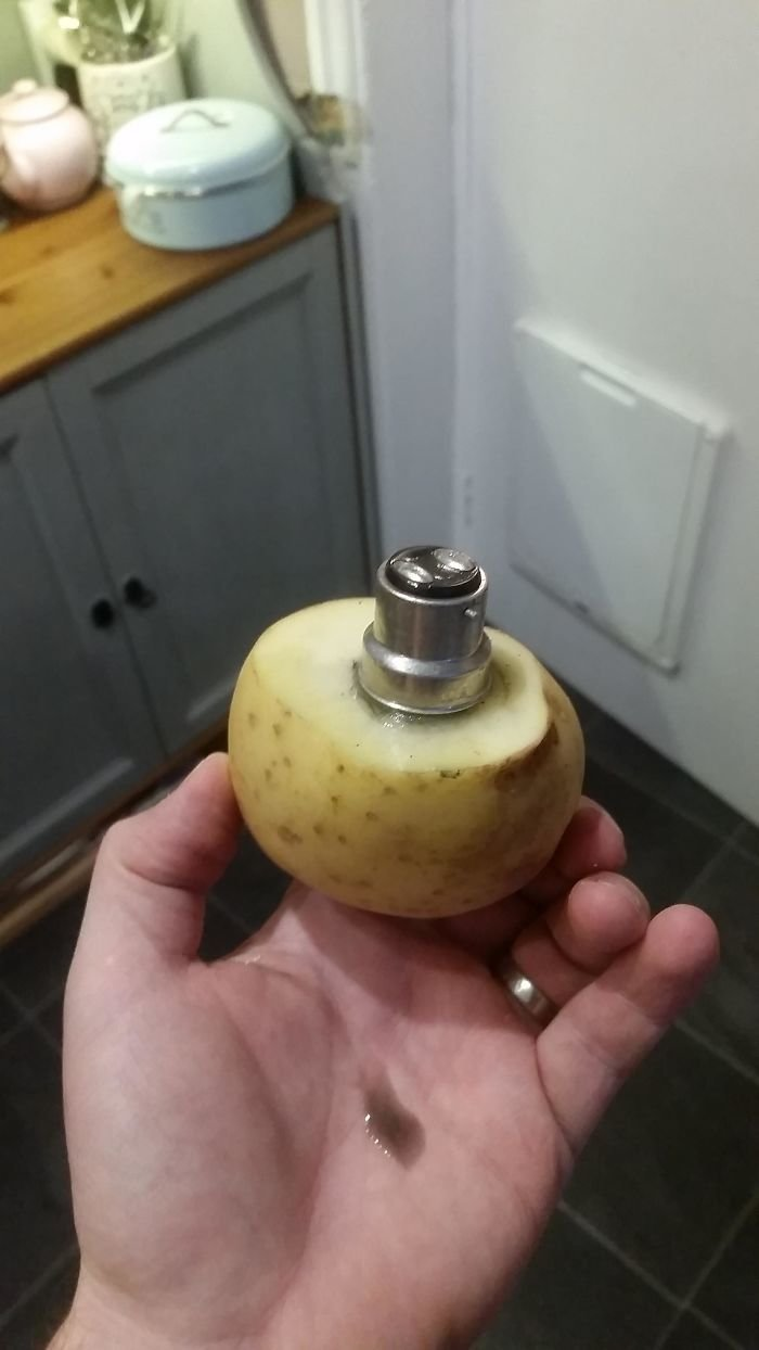 25. Перегоревшую лампочку можно заменить при помощи картофелины гениально, для дома, идеи, подборка, полезное, полезные идеи, советы, хитрости