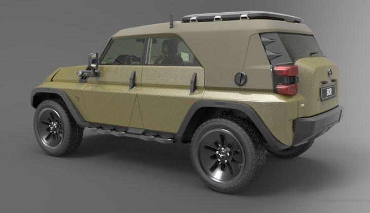Дизайнер создал ремейк легендарного УАЗа-469 UAZ Bor, дизайн, проект, ремейк, рендеринг, уаз 469