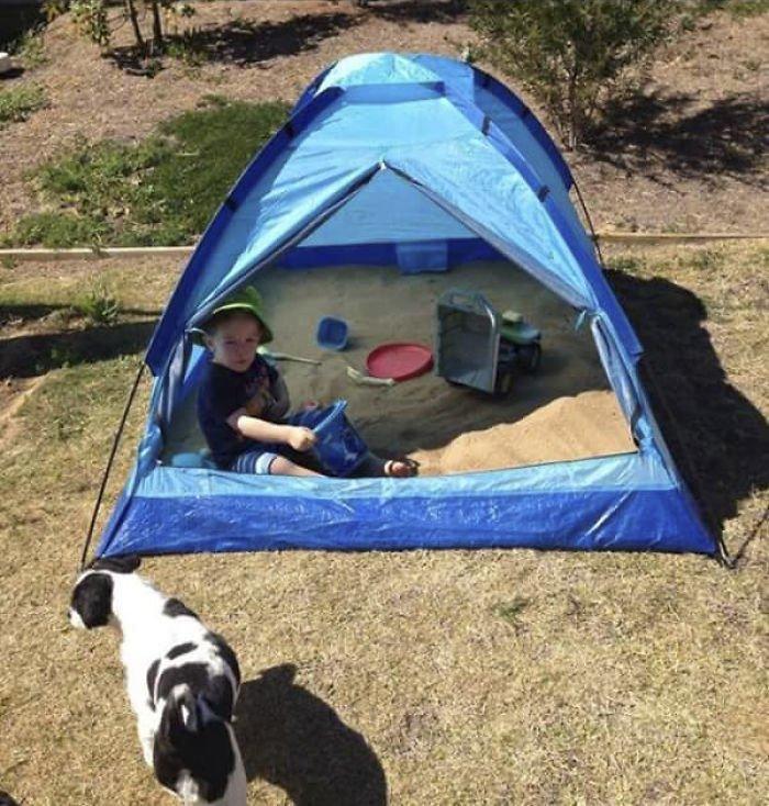 4. Песочница для детей из палатки гениально, для дома, идеи, подборка, полезное, полезные идеи, советы, хитрости