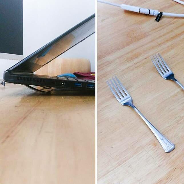А вот так можно охладить ноутбук Полезные, быт, дом, идеи, креативно, фото