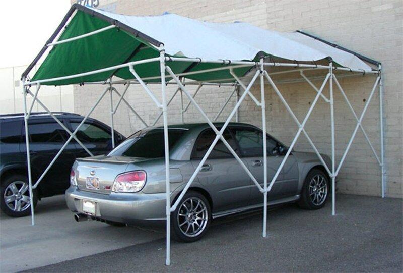 Навес для автомобиля (лишь бы ветер не подул) ПВХ-изыски, изобретательность, пвх, пвх-трубы, подборка, прикол, юмор