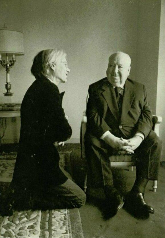 7. Энди Уорхол и Альфред Хичкок в 1974 году жизнь, исторические фото, история, прошлое, фото