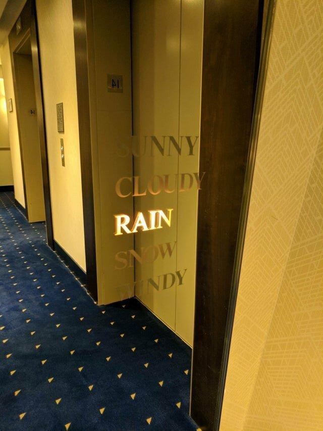 Зеркало около лифтов, которое показывает погоду на улице