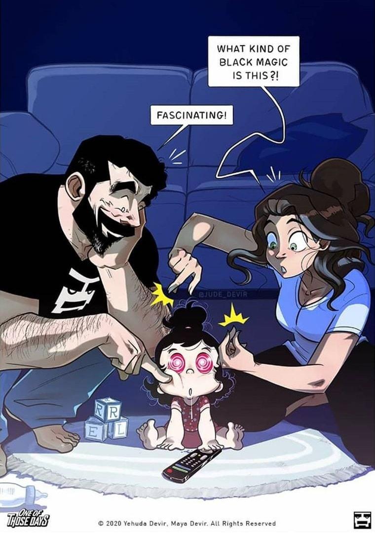Парень из Израиля рисует комиксы, показывая, как изменилась жизнь семьи с появлением ребенка